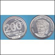 200 CRUZADOS NOVOS - 1989 - CENTENÁRIO DA REPUBLICA - PRATA PROOF