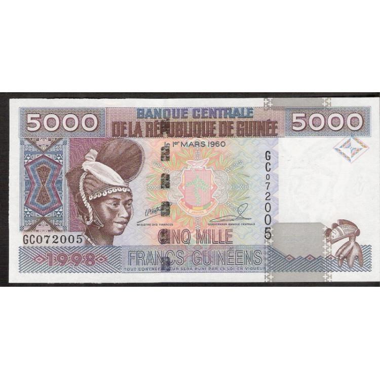 GUINÉE (Guinea) - 5.000 Francs - 1998 - Pick 38 - FE