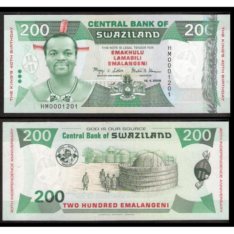 SWAZILAND - 200 Emalangeni - 2008 - P.35 - COMEMORATIVA - FE