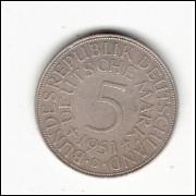ALEMANHA - 5 Marks - 1951 D - km 112