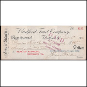 CHEQUE BANK OF RICHMOND da Virginia  de 1906 #3 - ENVIO GRATIS