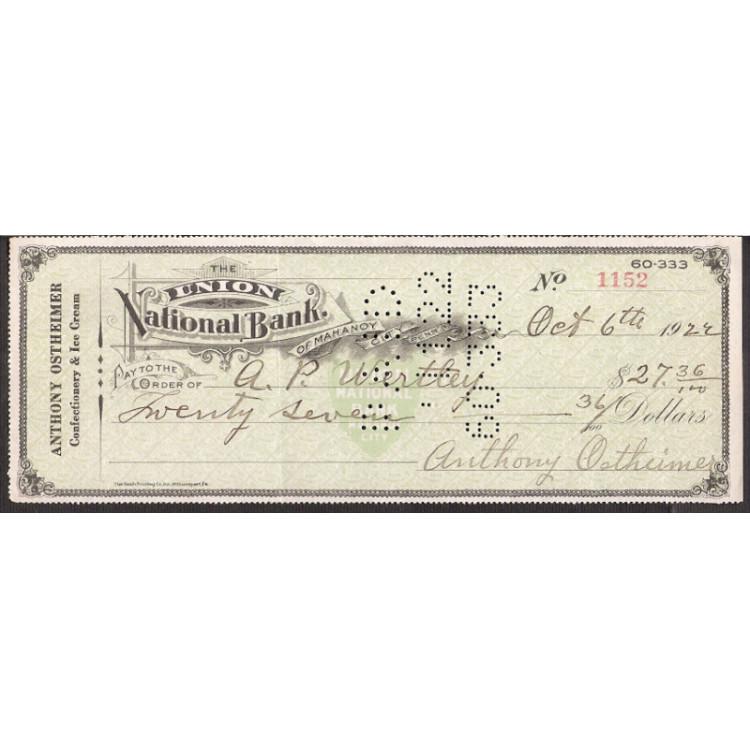 CHEQUE UNION NATIONAL BANK de Mahanoy de 1922 #7 ENVIO GRATIS
