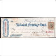 CHEQUE NATIONAL EXCHANGE BANK 1875 com selo fiscal - #1
