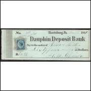 CHEQUE DAUPHIN DEPOSIT BANK de Harrisburg de 1881 SELO FISCAL #5 ENVIO GRATIS