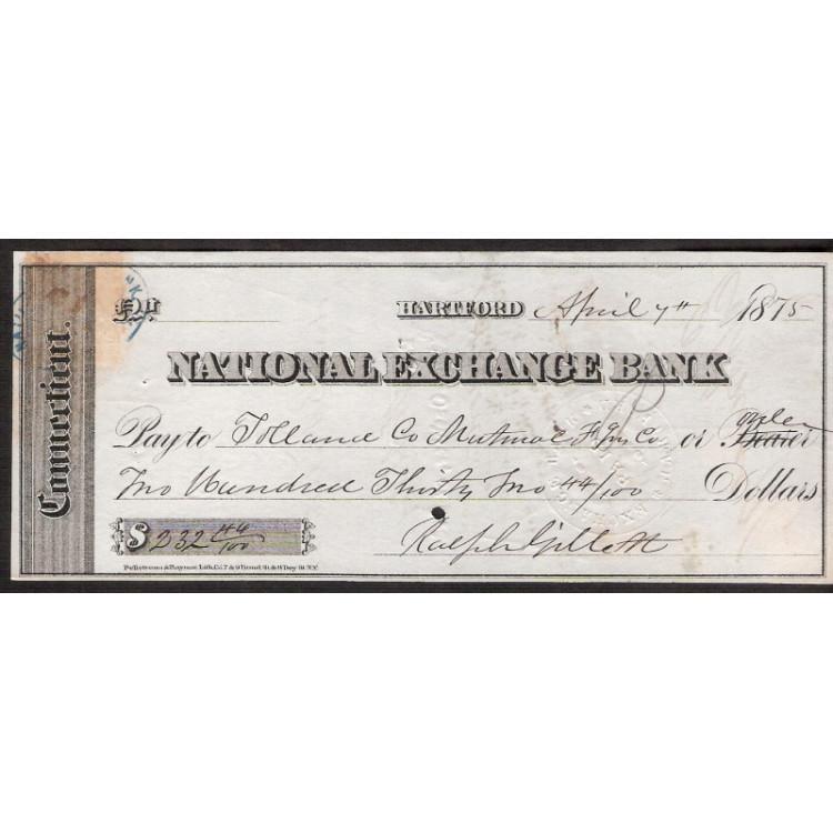 CHEQUE NATIONAL  EXCHANGE BANK de Hartford de 1875 #9 ENVIO GRATIS