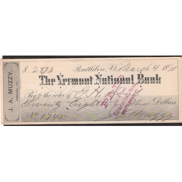 CHEQUE THE VERMOND NATIONAL BANK - 1891 - #21 ENVIO GRATIS