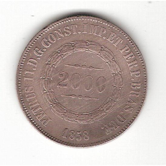 2000 Reis 1858 - DATA NÃO EMENDADA  sob (620a) RARA