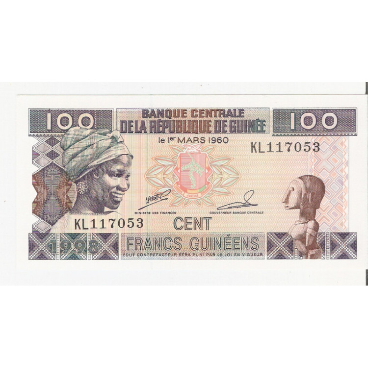 GUINÉE (Guinea) - 100 Francs - 1998 - P.35A - FE