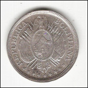BOLIVIA - 50 centavos - 1893 -  KM 161.5