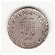 500 Reis - 1906 V grammas - SEM ACENTO RARA (681A)