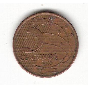 5 Centavos - 2002 (V468a)- empastamento no reverso #10 ERRO