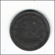 ARGENTINA - 20 centavos 1896  c/n -  km 36