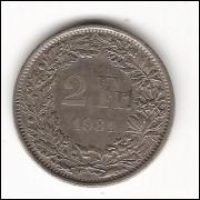 SUIÇA - 2 Francs 1981 -  c/n -  km 21A.1