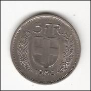 SUIÇA - 5 Francs 1968 -  c/n - sob  km 40A.1