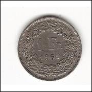 SUIÇA 1 Franc - 1969 B - sob  km 24A.1