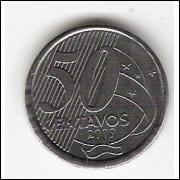 50 Centavos/REAL - 2009 - empastamento no reverso (453a)#26