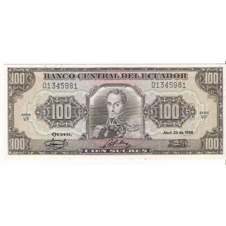 EQUADOR 100 Sucres 1986 P.123 =2