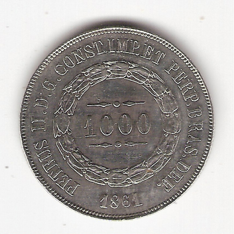 1000 Reis - 1861 - mbc/sob  (609)=2
