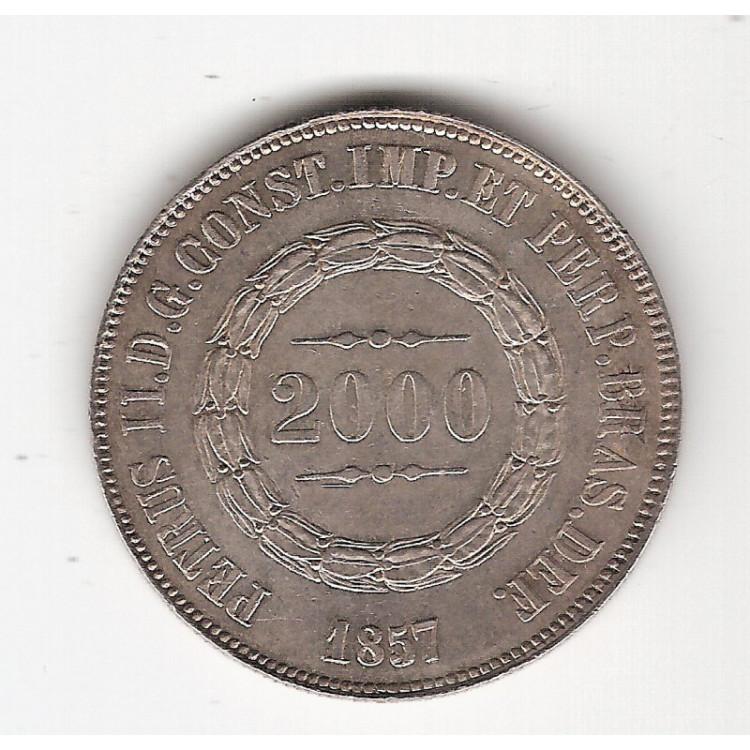 2000 Reis - 1857 - Escassa - FC (P619)