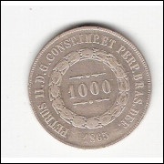 1000 Reis - 1865 - mbc/sob (613)=2