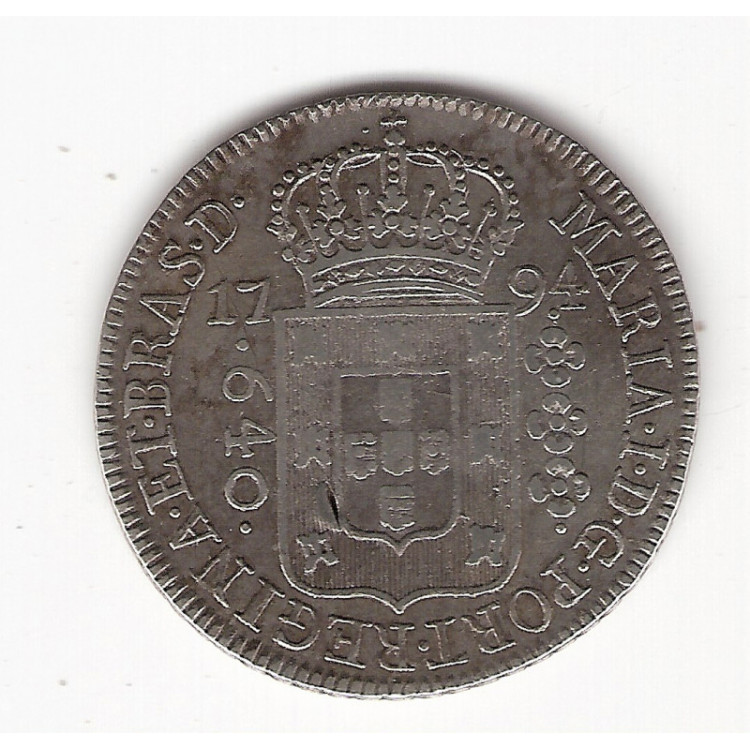 640 reis - 1794 R - mbc/sob = escassa (