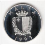 MALTA 5 Liri - 1993 - Prata PROOF (104)