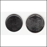 Moedas da FAO - 10 e 25 centavos - 1995 -  FC (455 e 456)(cx.p)