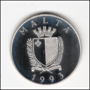 MALTA - 5 Liri - Prova de 1993 - PROOF - KM#104 (cx.p)