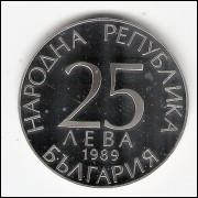 BULGARIA - 25 Leva - Prova de 1989 - PROOF - KM#187 (cx.p)
