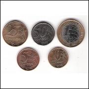 2009 - CONJUNTO COM 5 MOEDAS DO REAL DE 2009 -  (cx.p)