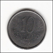 10 centavos - 1994 (V446)  data vazada no reverso-  ERRO