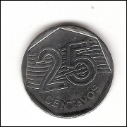 25 centavos - 1994 (V450a)  reverso invertido- ERRO
