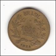 1924 - 1000 reis - Simbolo da Fortuna - mbc(+) (V128)