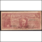 R-169 - 10.000 Reis - Caixa de Conversão - 1907 FALSA DA ÉPOCA